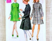 Vintage pattern Simplicity 7847 1960s coat dress Bust 36 princess line stand up collar Sewing Jackie Kennedy Mad Men