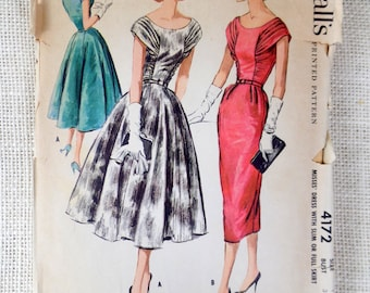 Vintage Pattern McCall's 4172 1950s Rockabilly bombshell dress wiggle dress pencil skirt ruched gathered bodice portrait neckline Bust 32