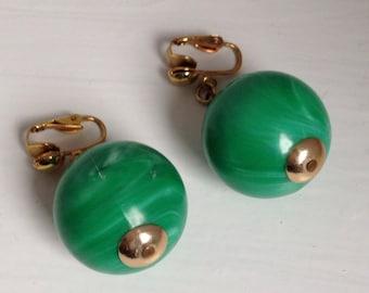1960s Retro Green Ball Dangle Clip On Groovy Earrings