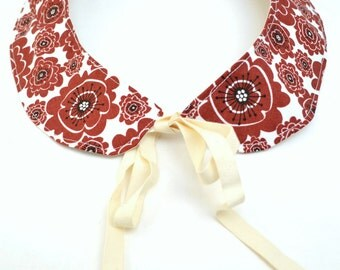 Detachable Collar - Organic Cotton - Maroon Flowers