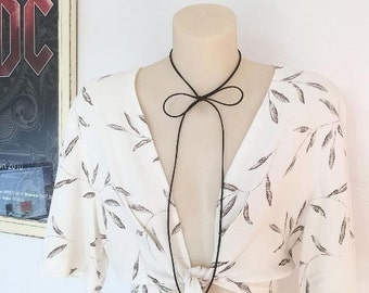 Cream white floral leaf print tie up shirt crop cropped tie up top