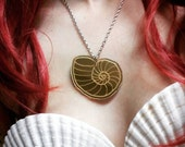 "Voice of Ariel Seashell Necklace Gold Laser Cut Acrylic with 18"" Chain"