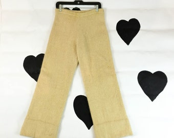 70's 80's fluffy angora knit pants / 1970's 1980's wide leg cream gold soft sweater wide leg pants / elastic waist / sailor / sweatpants / L