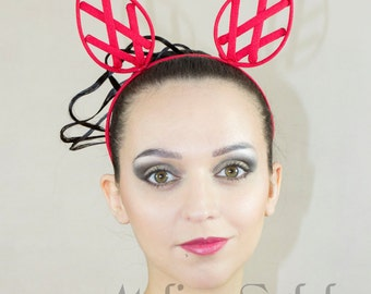 Fancy Head band in red color criss cross ear crinoline grid for fantasy party unique woman size