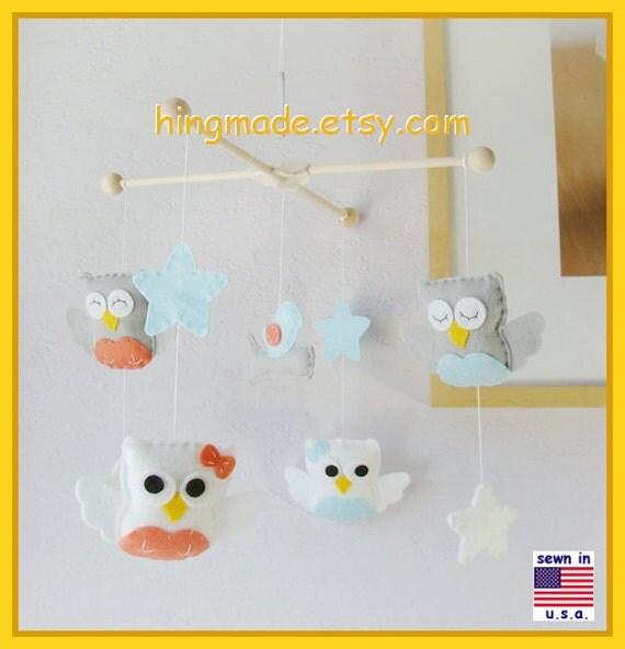 ON SALE !! Baby Crib Mobile, Baby Mobile, Owl and Bird Mobile, Woodland Mobile, Coral and Aqua Nursery Decor, Gray and White Owl Mobile
