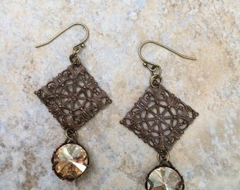 Antique Brass Filigree Tile Earrings with Swarovski Copper Rivoli Crystals