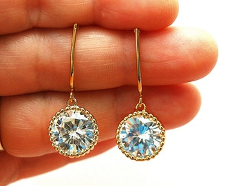 Gold Bridesmaid Earrings Bridal Earrings Swarovski Crystal Earrings Wedding Earrings Bridesmaids, Bridal Party Gift
