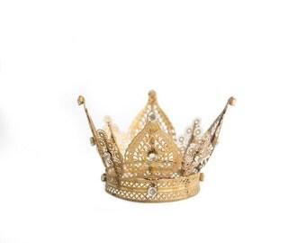 Princess Crown, Gold Crown Cake Topper, Wedding Cake, Small Crown, Rhinestone Crown - Fern