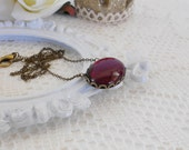 Red Garnet Necklace, Crystal Necklace, Old Hollywood, Vintage Glass Necklace, Estate Jewelry, Art Deco Necklace, Blood Red Pendant Necklace