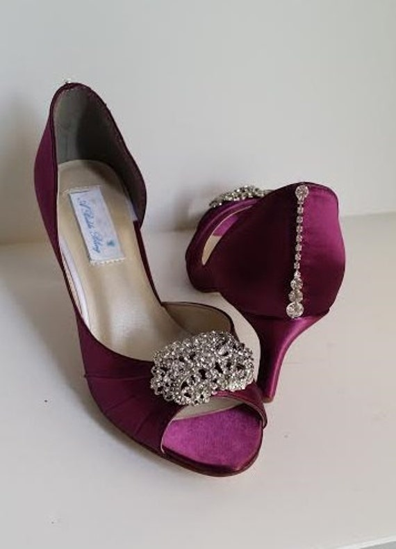 c6f2e49b6c93 wedding shoes burgundy bridal shoes with a vintage inspired crystal brooch  design and heel crystal design