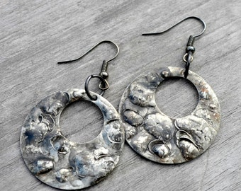 Gypsy Styled Hoop Earrings Handcrafted of Brass & Silver Solder Medium Sized Hoops Casual to Dress  (2466)
