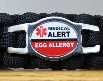 Egg Allergy Bracelet, Medical Alert Bracelet, Survival Bracelet