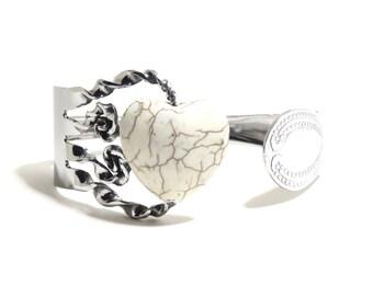 Stone Fork Bracelet, Stainless Steel Fork Bracelet, White Turquoise Fork, Howlite Stone, Fork with Stones, Women, Men, Mirror Finish BLB 28