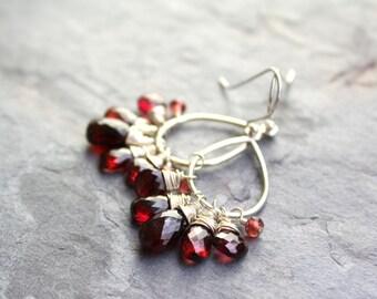 Garnet Earrings Chandelier Dangle Red Gemstone Earrings Sterling Silver Romantic Jewelry