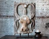 Antique Toraja Door On Stand Vintage Carved Wood Bull Ceremonial Door Tribal Art Afterlife Funeral Door Funerary Relic