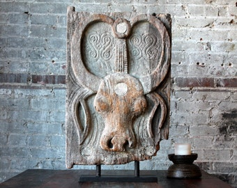 Antique Toraja Door On Stand Vintage Carved Wood Bull Ceremonial Door Tribal Art Afterlife Funeral Door Funerary Relic