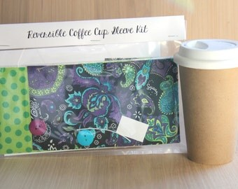 DIY Coffee Cup Sleeve Sewing Kit - Purple and Turquoise Paisley with Green Dots - Ready to Ship