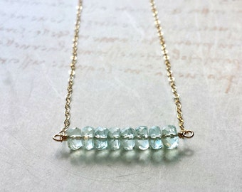 Minimalist Aquamarine Necklace, March Birthstone Necklace, Faceted Aquamarine Necklace, Pale Blue Gold, Blue Stone Necklace