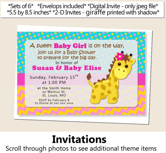 baby girl giraffe baby shower invitations giraffe birthday