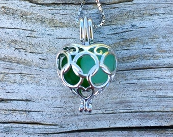 Mixed Greens Sea Glass Sterling Silver Heart Flower Locket Dark Light Irishby Wave of LIfe