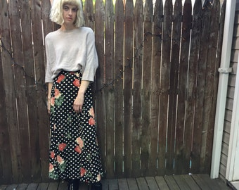 SALE- Vintage Polka Dot Rose Printed Maxi Skirt