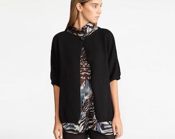 Buy 1 get 1 sale Knitted kimono cardigan, women sweater,cardigan, black cardigan, one button sweater,  black winter jacket, women sweater