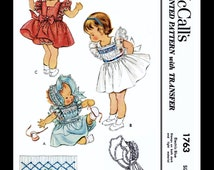 BABY BONNET Sewing Pattern Material Fabric McCall's # 1763 Child Girls Smocked Pinafore Dress Frock and Panties and Sunbonnet Cap Hat Size 1