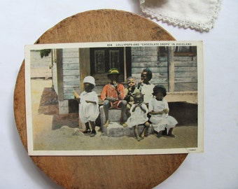 Vintage Dixieland Postcard Chocolate Drops Black Americana African American Children Lollypops Picture Picking Cotton 1936 Black History Art
