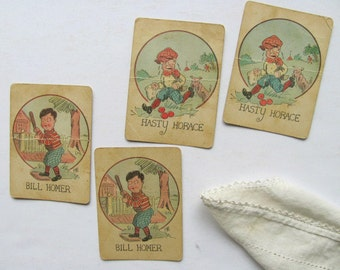 Vintage Old Maid Card Game Bill Homer Hasty Horace Playing Cards Art Signed Phil Toy Pair Game Pieces Deck of Cards Baseball Dog Run Apples