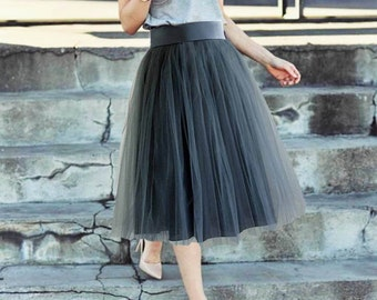 Gray tulle skirt. Tulle skirt women. Tea length tulle skirt. Woman tulle skirt.
