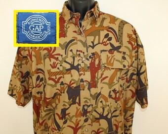 Gap brand vintage animal print shirt Large short-sleeve collared button-up dark khaki 80s Hong Kong