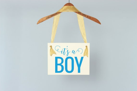 It's A Boy Sign Gender Reveal Baby Announcement | Pregnancy Maternity Shoot | Hanging Banner | Handmade USA | Modern Font New Baby Boy 1206
