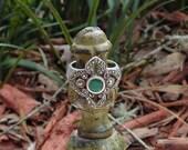 Vintage Rich Natural Green JADE---Natural Marcasite ---Sterling-- Open Filigree Ring ---Size 7