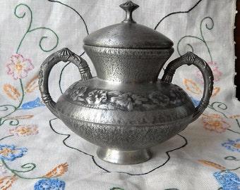 Stunningly Delicate Vintage NORWAY PEWTER~061~Lidded Vase Jar~Decorative container