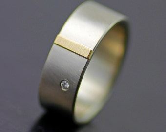 mens modern wedding band gold tab and diamond wedding ring for men or women - Contemporary Wedding Rings