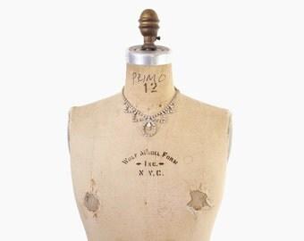 Vintage 50s RHINESTONE NECKLACE / 1950s Sparkling Ckear Glass Rhinestone Statement Necklace