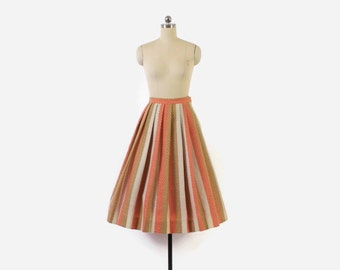 Vintage 50s Wool SKIRT / 1950s Coral & Gold Striped Full Skirt XS - S