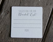 50 square Suggestions for our Bucket List Coasters, (Letterpress printed, 3.5 inch) set of 50