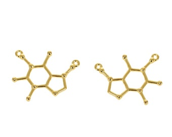 6 Caffeine Molecule Charms Antique Gold Tone Molecular Charm - GC798