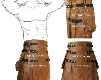 Interchangeable Worn Brown Leather Kilt Handmade Custom Fit Adjustable with Large Expanding Cargo Pockets