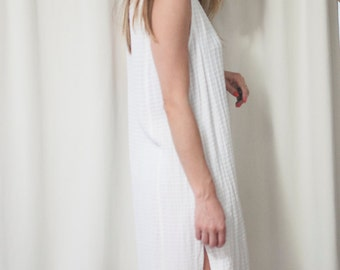 side slit shirt/dress/tunic white textured, medium