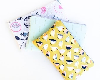 Pencil Case, Pencil Pouch, Zipper Pouch, Kids School Supplies, Gift for Teens, Cute Pencil Organizer, Mint and Arrows, Birds and Floral Bag