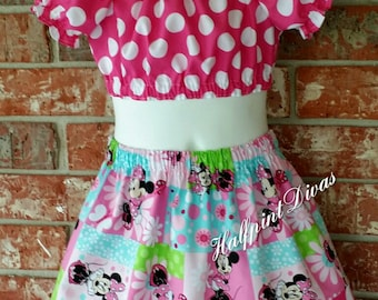 Minnie inspired crop top with matching skirt SIZE 3T SALE