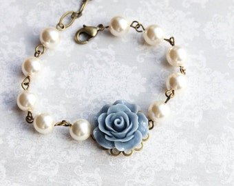 Blue Rose Bracelet Bridemaids Gift French Blue Rose Ivory Cream Pearl Bracelet Wedding Jewelry Something Blue Vintage Style adjustable size