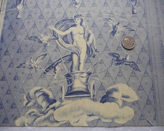 antique french toile de jouy antique fabric BLUE TOILE FABRIC