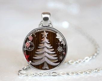 Christmas Necklace Christmas Jewelry Glass Tile Necklace Christmas Tree Glass Tile Jewelry Tree Jewelry Holiday Necklace Holiday Jewelry