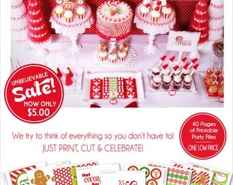 Christmas Party Gingerbread Printables | Hot Cocoa Party | Christmas Banner | Amanda's Parties To Go | 85% OFF | INSTANT DOWNLOAD