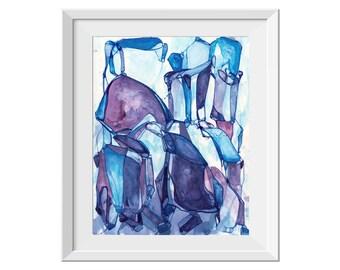 Medium ORIGINAL Painting, Navy Blue Purple Teal Painting, Acrylic Ink Painting, Abstract Art, Abstract Line Painting, Water Drip Painting,