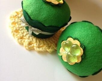 Clover Felt Cupcake - Gifts, Favors, Tableware, Irish, Home Decor, Good Luck, Pin Cushion, Good Fortune, Well Wishes, Graduation