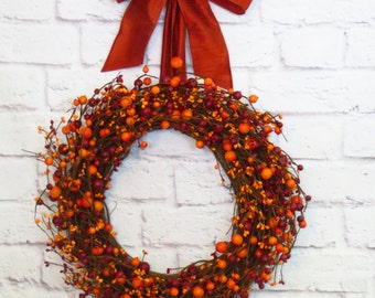 Fall Berry Wreath, Fall Decor, Autumn Wreath, Autumn Decor, Orange and Burgundy